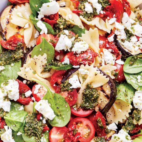 Farfalle salad with eggplant and semi-dried tomatoes