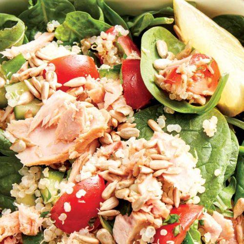 Quinoa tabouli with chilli tuna