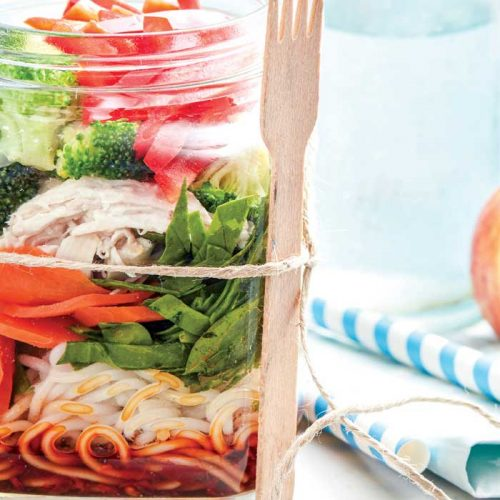 Thai chicken noodles in a jar