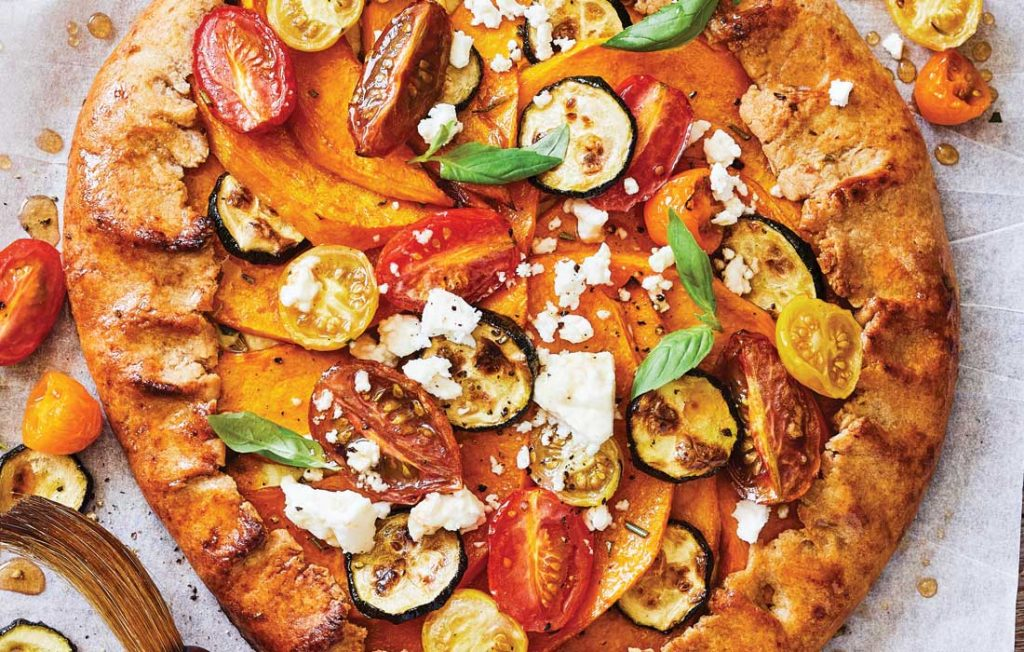 Tomato, pumpkin and courgette tart