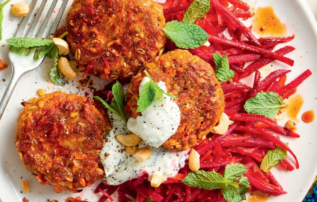 Lentil and cashew patties with carrot and beetroot salad