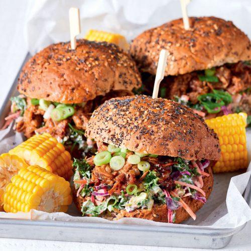 Hoisin pulled pork and slaw burgers