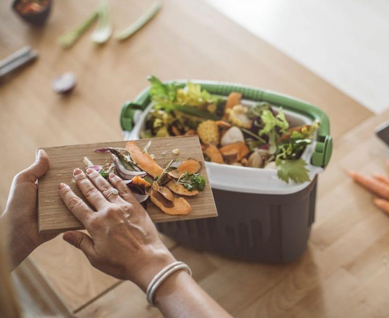 Putting food waste in the bin