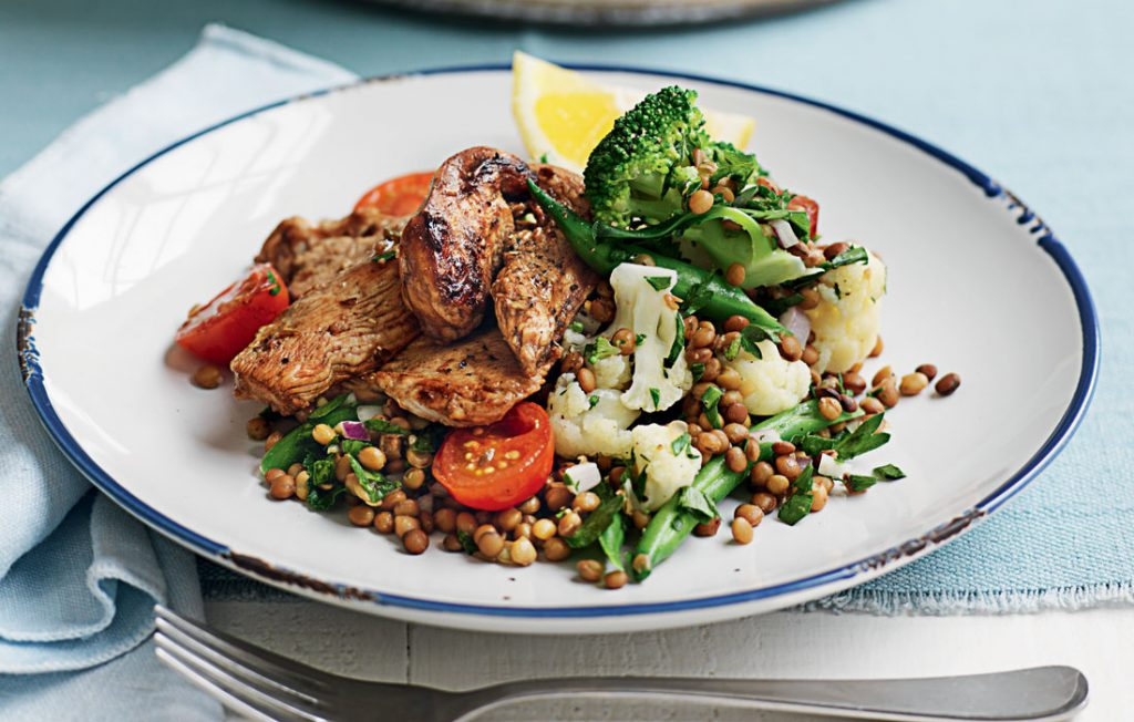 Balsamic chicken with warm lentil salad