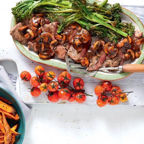 Grilled steak with kumara wedges and mushroom sauce