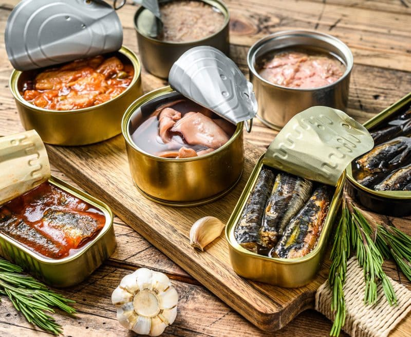 A selection of canned fish