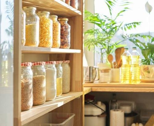 Organised pantry shelves