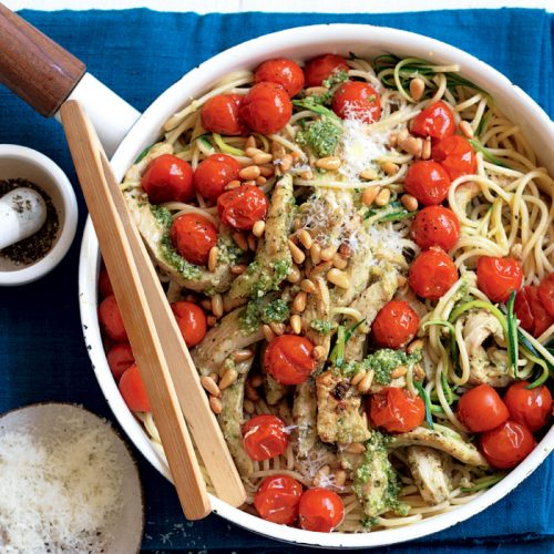 Chicken and courgette 'noodles' with lemon pesto